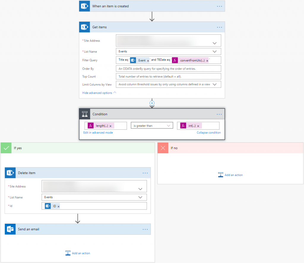 SharePoint - use Microsoft Flow to enforce uniqueness of a