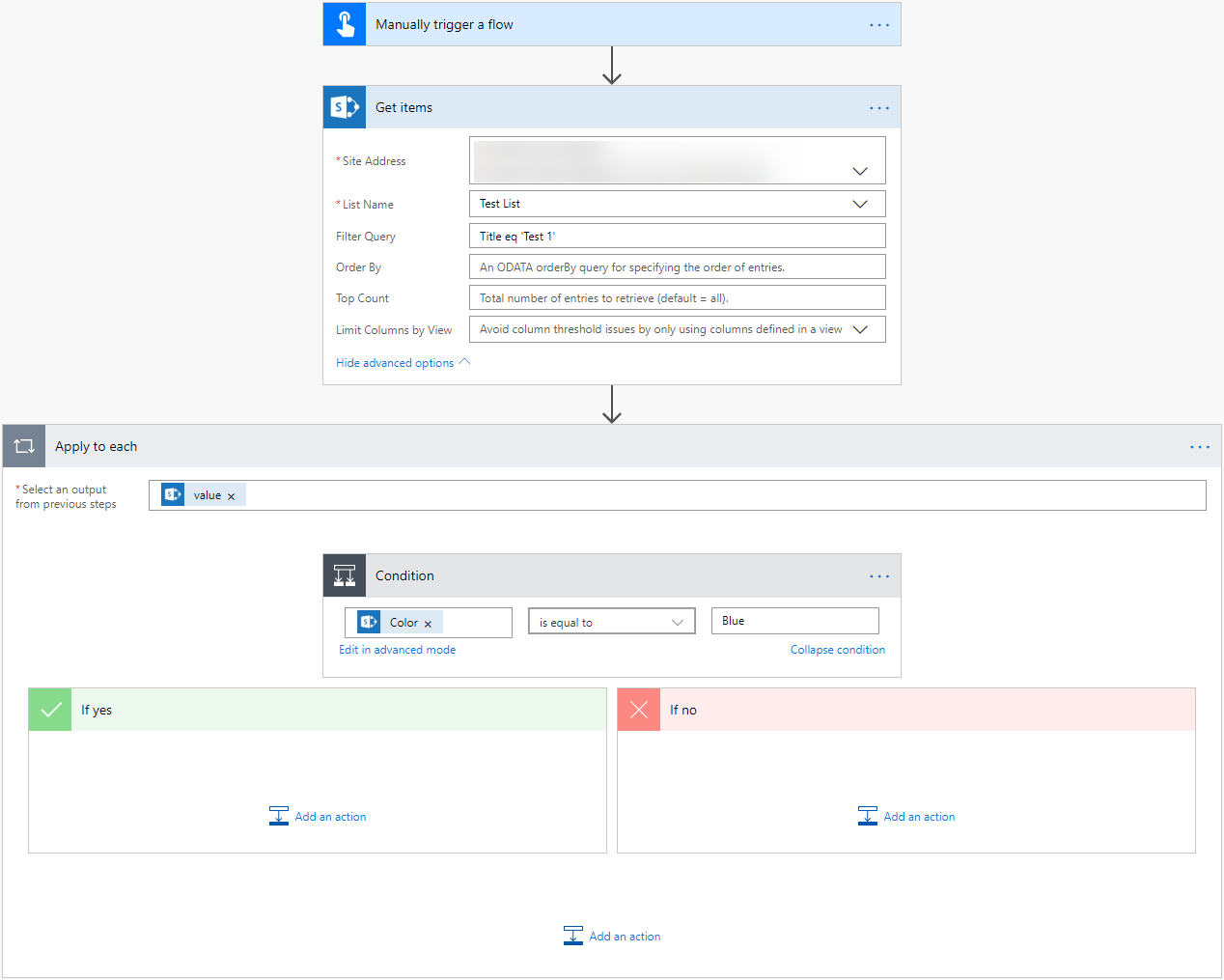 Microsoft Flow - 2 methods to not use Apply to Each action