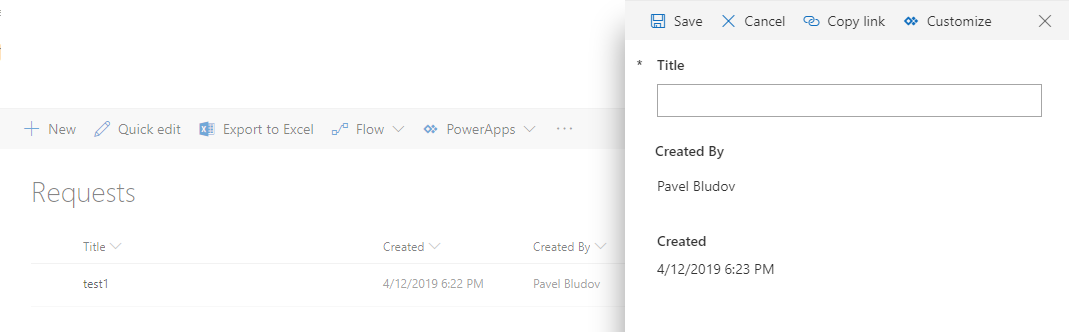 PowerApps form in SharePoint - show values of Created and